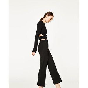 NWT Zara Black Straight Leg Trousers Ankle Pants